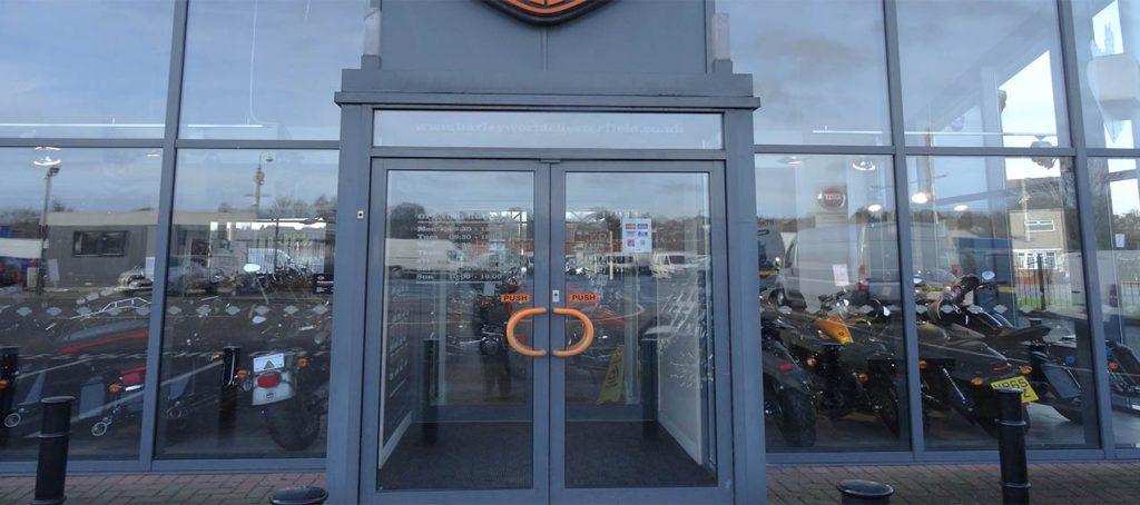 double entrance door commercial shop door