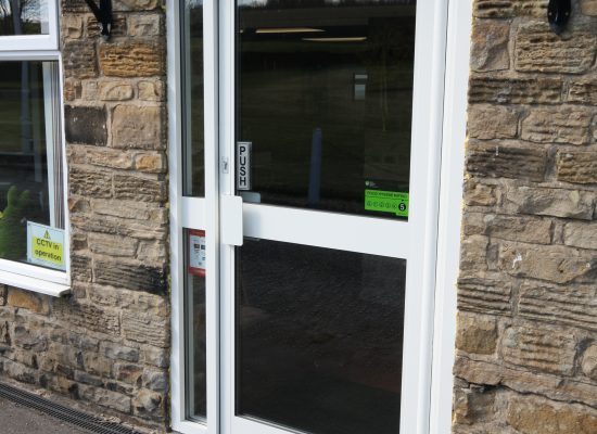 Commercial door Derbyshire with anti-finger trap